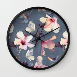 Butterflies and Hibiscus Flowers - a painted pattern Wall Clock