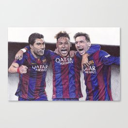 Neymar, Suarez, Messi Pen Drawing  Canvas Print