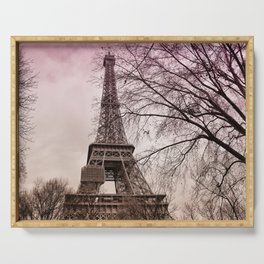Eiffel Tower Paris in pink Serving Tray