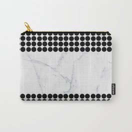 Black white polka dots modern marble pattern Carry-All Pouch