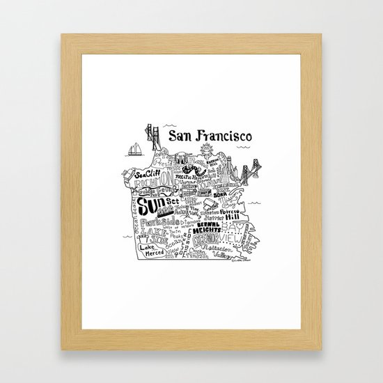 San Francisco Map Illustration Framed Art Print by clairelordon