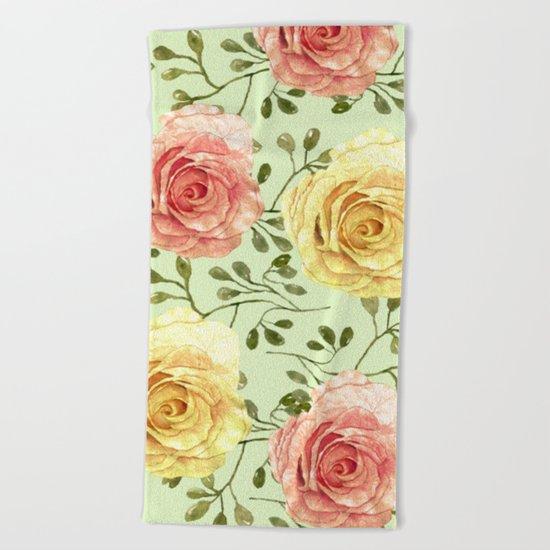 Watercolor Roses #6 Beach Towel