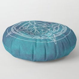 White Mandala - Dusky Blue/Turquoise Floor Pillow