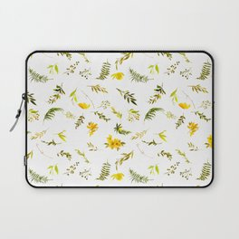 Tropical yellow green watercolor modern leaves floral Laptop Sleeve