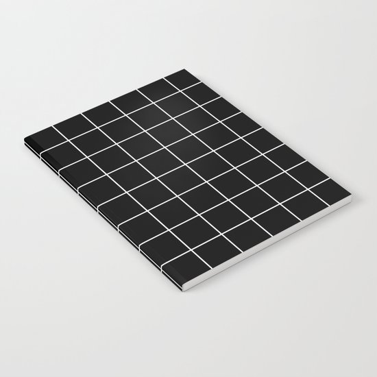 Black White Grid Notebook