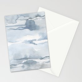 Pastel blue gray abstract watercolor brushstrokes stripes pattern Stationery Cards