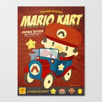 mario kart Canvas Prints featuring mario kart vintage by danvinci