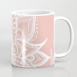 White Lotus Flower on Rose Gold Coffee Mug