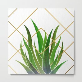 Emerald Succulent with Metallic Gold Diamonds Metal Print