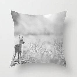 Baby Deer (Black and White) Throw Pillow