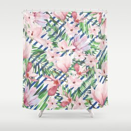Modern blue white stripes blush pink green watercolor floral Shower Curtain