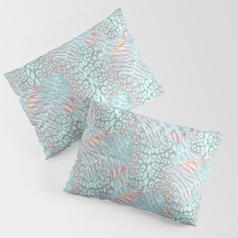 Leopard, tiger print. Turquoise and coral. Pillow Sham