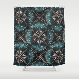 Forget me not compass (blue) Shower Curtain