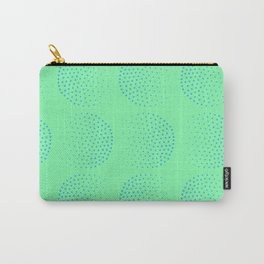 Blue Dot Circles on Green Background Carry-All Pouch
