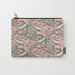 Narwhal Toile - peach pink Carry-All Pouch