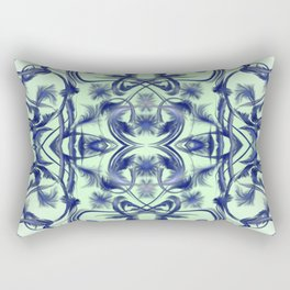 blue in blue Digital pattern with circles and fractals artfully colored design for house and fashion Rectangular Pillow
