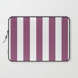 Sugar Plum violet - solid color - white vertical lines pattern Laptop Sleeve