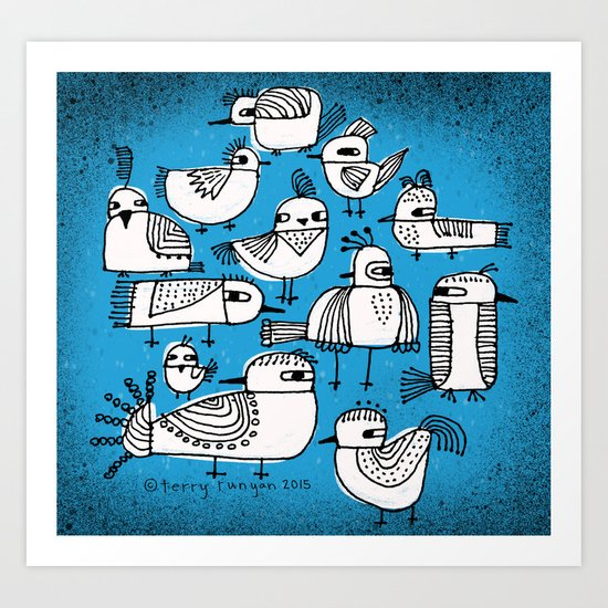 BIRDS IN BLUE Art Print