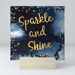 Sparkle And Shine Gold And Black Ink Typography Art Mini Art Print