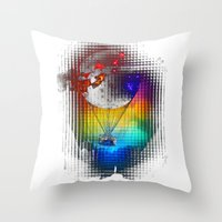 baloon Throw Pillows featuring TERROR AIR BALOON by immiggyboi90