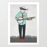 banjo Art Prints featuring Banjo Badger by Prelude Posters