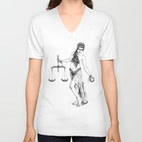 libra V-neck T-shirts featuring Libra by PAgata