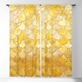 Sunny Gold Colorful Watercolor Trendy Glitter Mermaid Scales Blackout Curtain