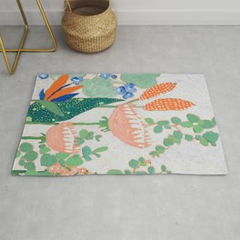 Proteas and Birds of Paradise Painting Rug