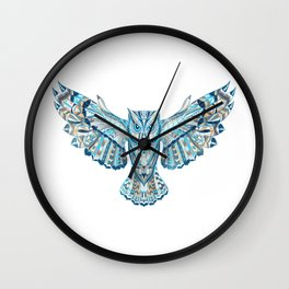 Flying Colorful Owl Design Wall Clock