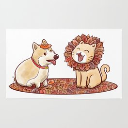 Corgi dog and a cat imitating lion with mane made of autumn leaves Rug