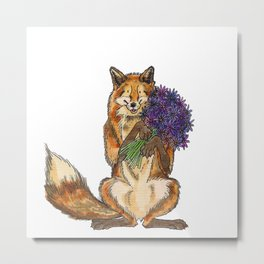 Fox with Flowers Metal Print