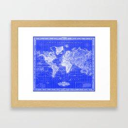 Vintage Map of The World (1833) Blue & White Framed Art Print