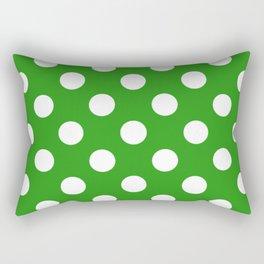 Slimy green - green - White Polka Dots - Pois Pattern Rectangular Pillow