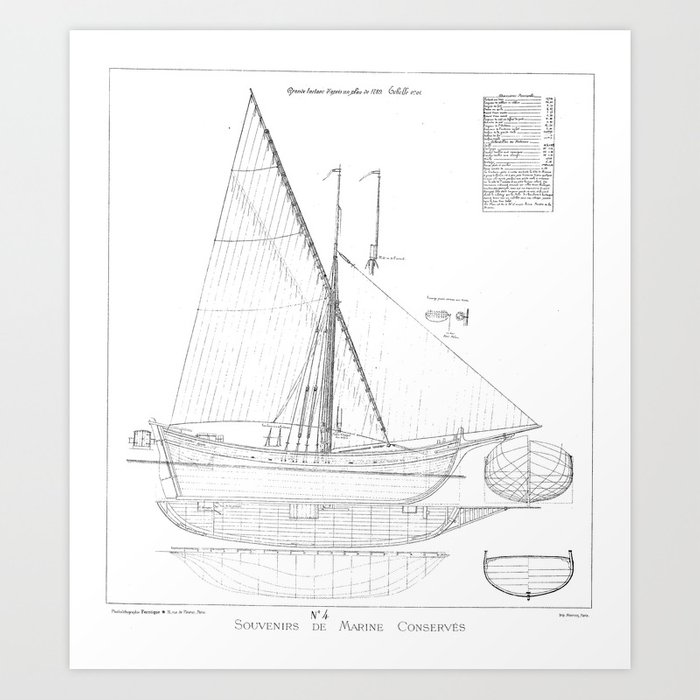Vintage black white sailboat blueprint drawing antique nautical vintage black white sailboat blueprint drawing antique nautical beach or lake house preppy decor art malvernweather Image collections