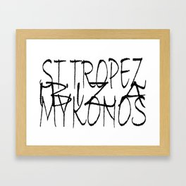 St. Tropez, Ibiza and Mykonos. Framed Art Print