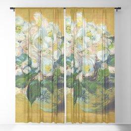 "Claude Monet ""Christmas Roses"" Sheer Curtain"
