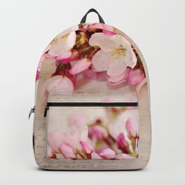 cherry blossoms with typography Backpack