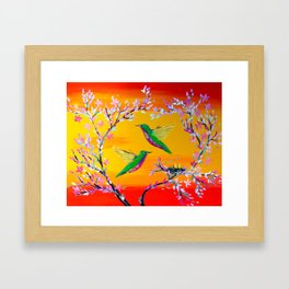 Yeloowlow and Orange with Hummingbirds Framed Art Print