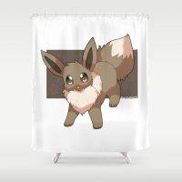 eevee Shower Curtains featuring Eevee by Mirikun