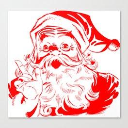 Red Old School Santa (Color) Canvas Print