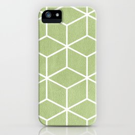Lime Green and White - Geometric Textured Cube Design iPhone Case