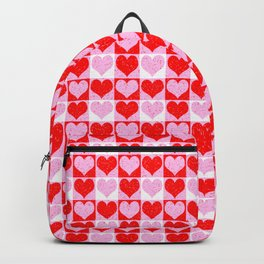 Love Heart Red Pink and White Check Pattern Backpack