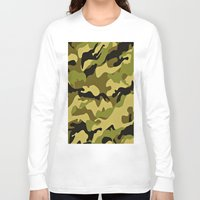 camouflage Long Sleeve T-shirts featuring CAMOUFLAGE by I Love Decor