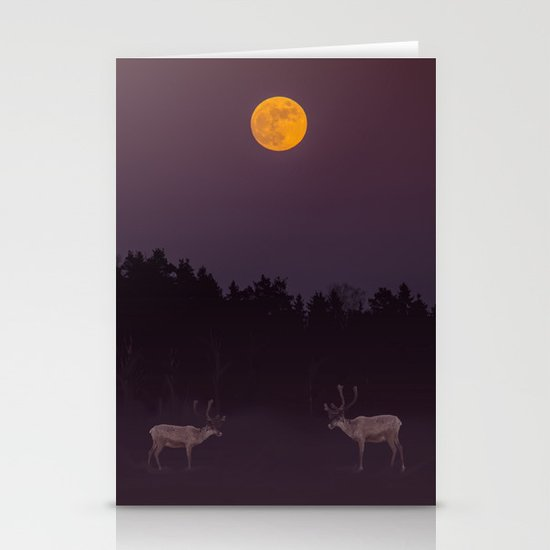 Full Moon - Winter Night With Reindeer At Edge Of Forest #decor #buyart #society6 Stationery Cards