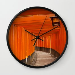 Torii gates of the Fushimi Inari Shrine in Kyoto, Japan Wall Clock