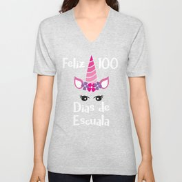 Feliz 100 Dias De Escuala Unicorn Spanish 100 Days of School Unisex V-Neck
