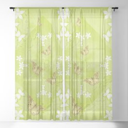 The Queen butterfly and gold butterflies in vibrant green Sheer Curtain