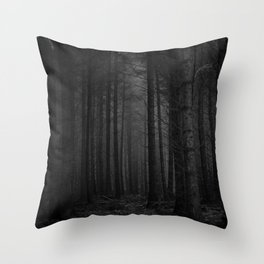 The Dense & Foggy Forest (Black and White) Throw Pillow