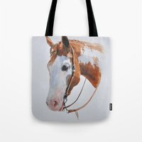 western Tote Bags featuring Western Horse by Natalia Elina