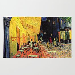 The cafe terrace on the place du forum, Arles, at night, by Vincent van gogh.  Rug